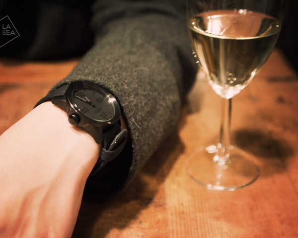 ( Nixon The Private watch, Brown Sound coat. Row House Cafe, Seattle, WA )