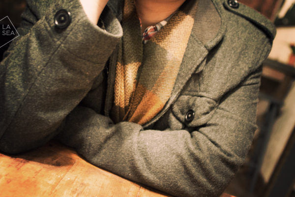 ( Vintage scarf, Gap flannel. Row House Cafe, Seattle, WA )