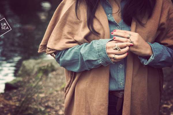 H&M poncho and rings, F21 denim shirt, BDG high rise jeans